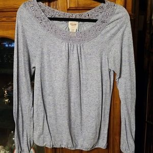 Long Sleeve Tee with Lace Neckline